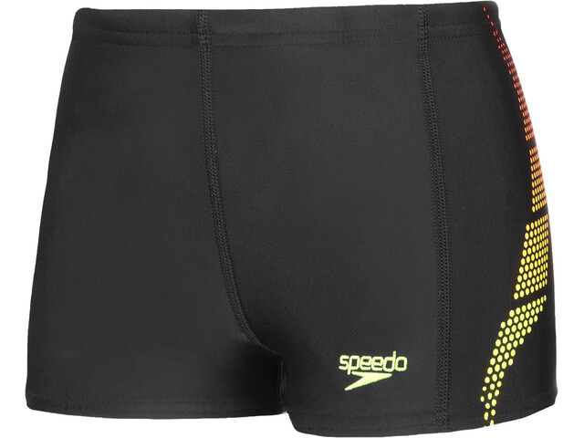 speedo Plastisol Placement Aquashorts Jongens, black/lava red/fluo yellow
